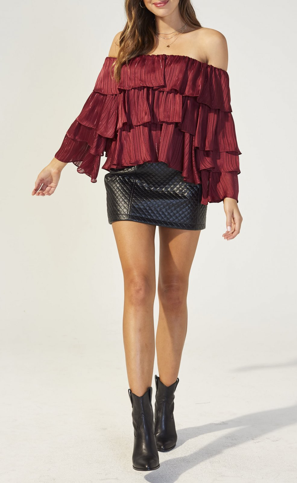 MinkPink In the Moment Burgundy Top