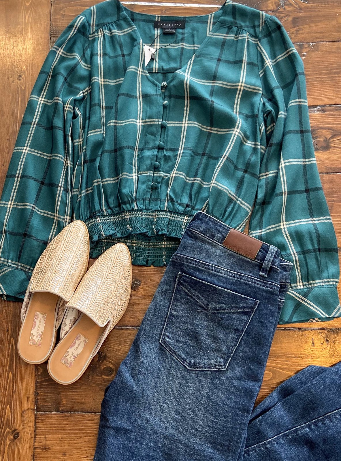 Sanctuary Smocked Mineral Plaid Top