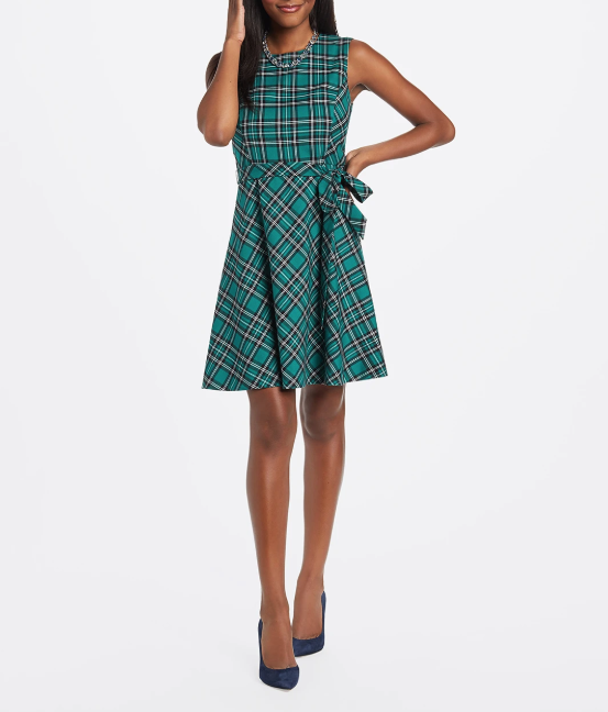 Draper James Pine Angie Check Bow Waist Dress