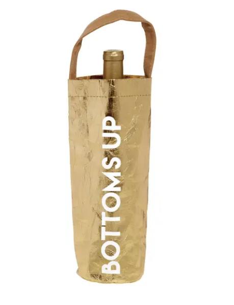 Bottoms Up Gold Wine Bag