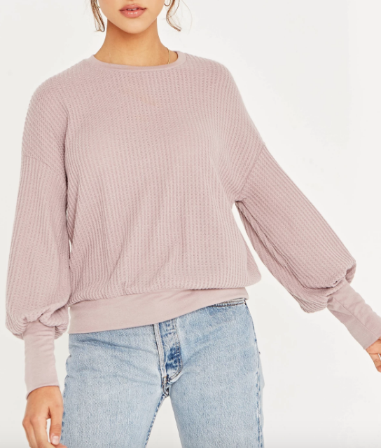 Pale Pink Puff Sleeve Crew Tee- Project Social