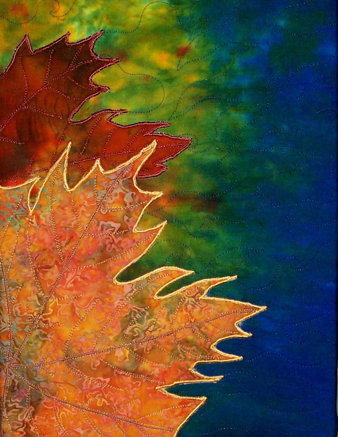 AUTUMN COLORS STITCHED PHOTO ART CARD
