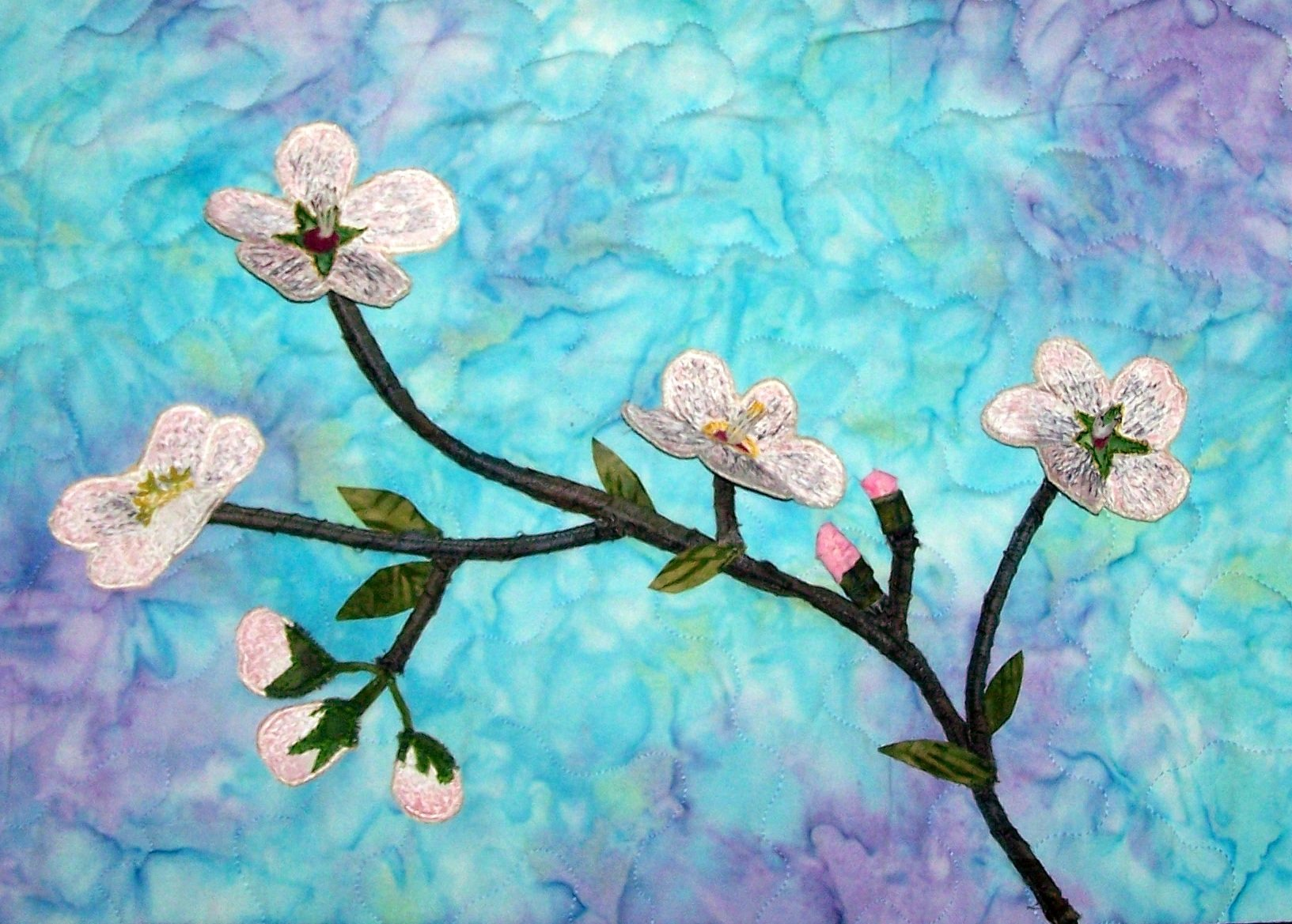 CHERRY BLOSSOMS STITCHED PHOTO ART CARD