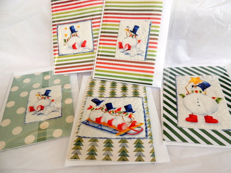 Quilted Cute Snowmen Cardinal Greeting Card