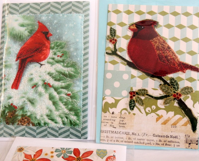 Quilted Christmas Cardinal Greeting Card
