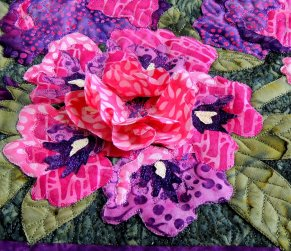 Close up of 3-D Rhododendron Fabric Flowers