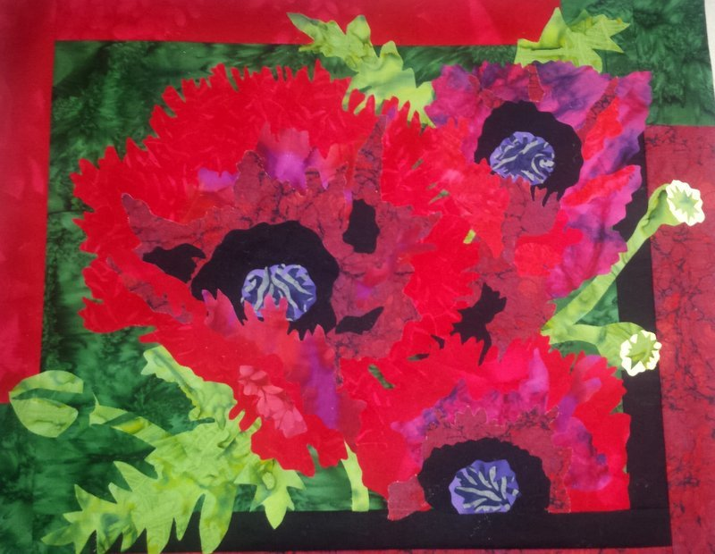 Embellishment KIT: Choir of Poppies Red Flower Treated Fabric with Pattern
