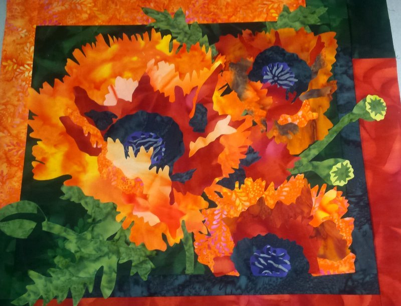 Embellishment KIT: Choir of Poppies Orange Flower Treated Fabric and Pattern