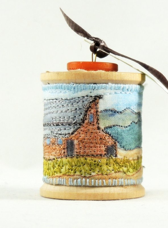 Barn Thread Painted Wooden Spool Ornament