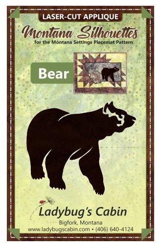 Bear Montana Silhouette Applique (Right Facing)
