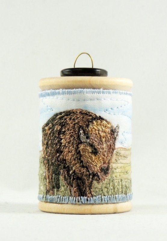 Bison Thread Painted Wooden Spool Ornament