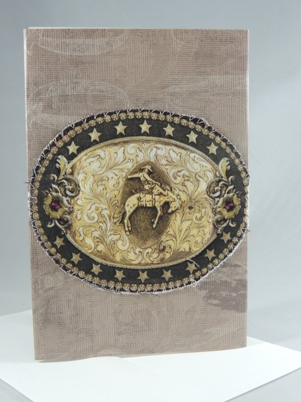 Western Bucking Bronc Rider Belt Buckle Quilted Greeting Card