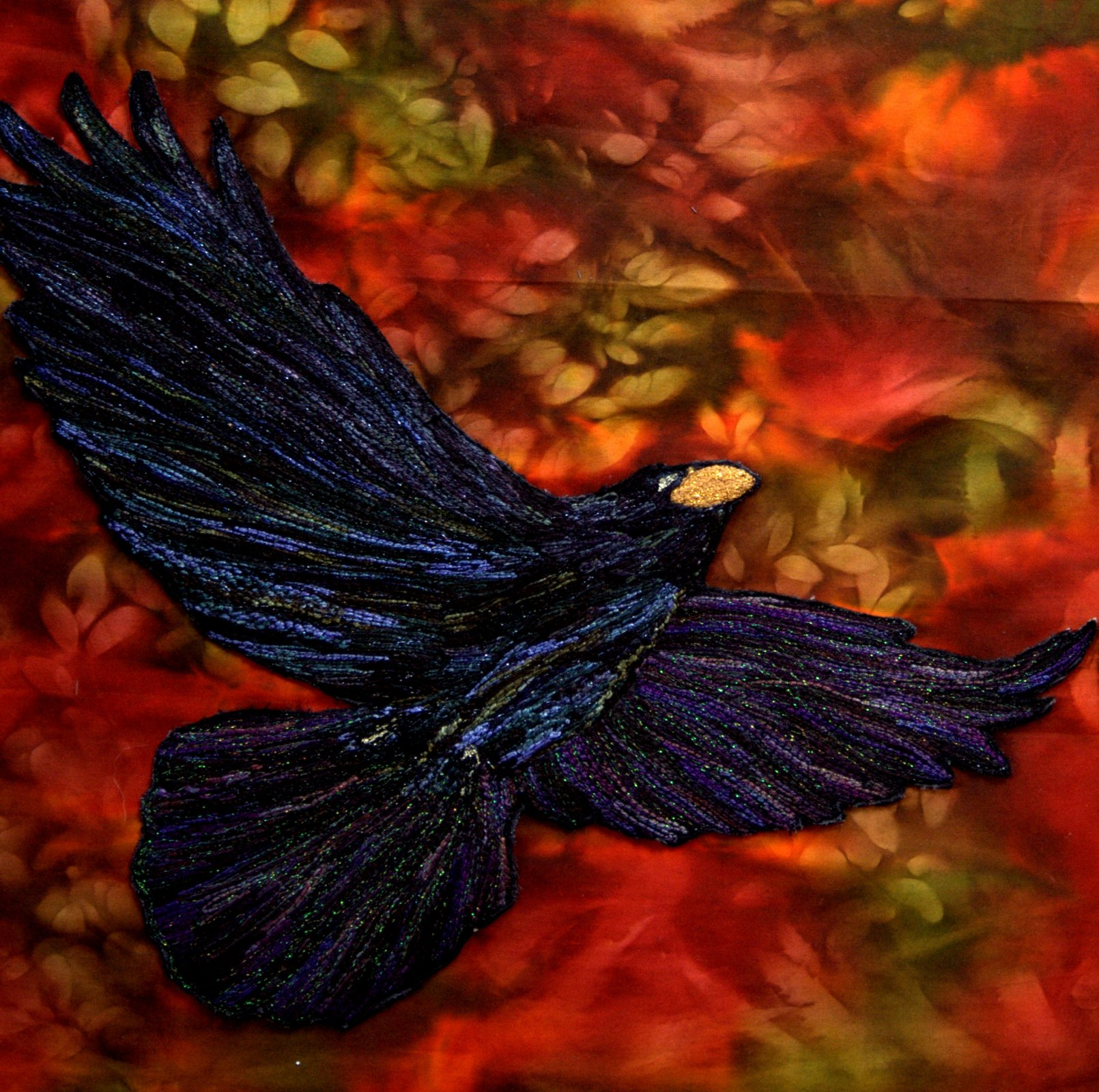 RAVEN IN FLIGHT STITCHED PHOTO ART CARD