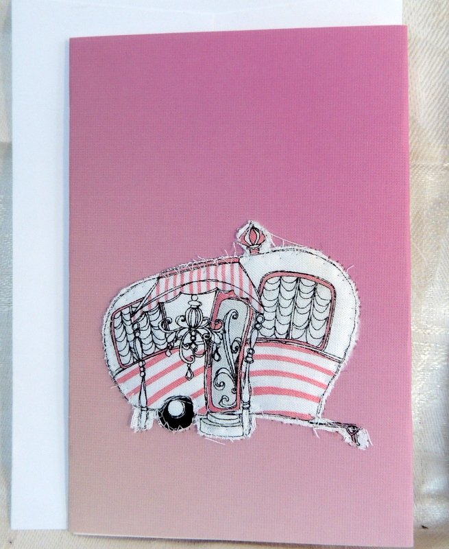 Pink and White Quilted Camper Card