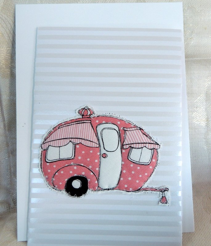 Pink Poke-a-dot Quilted Camper Card