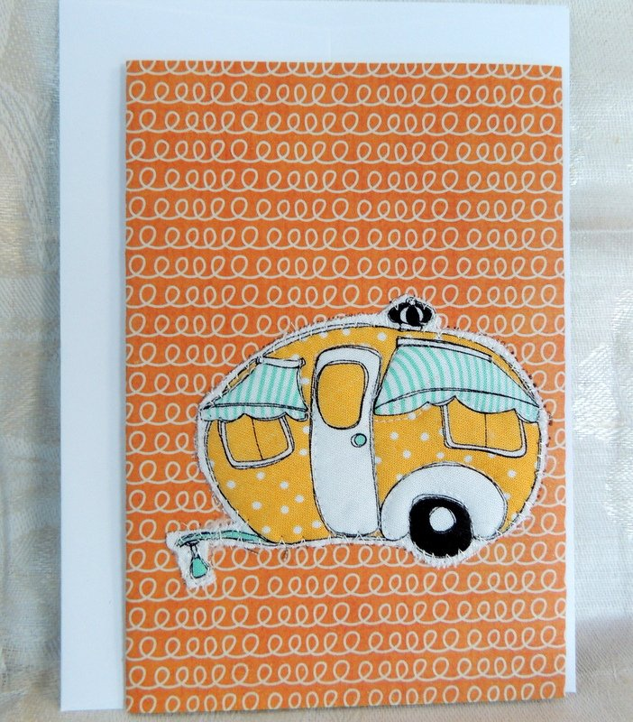 Yellow poke-a-dot Quilted Camper Card