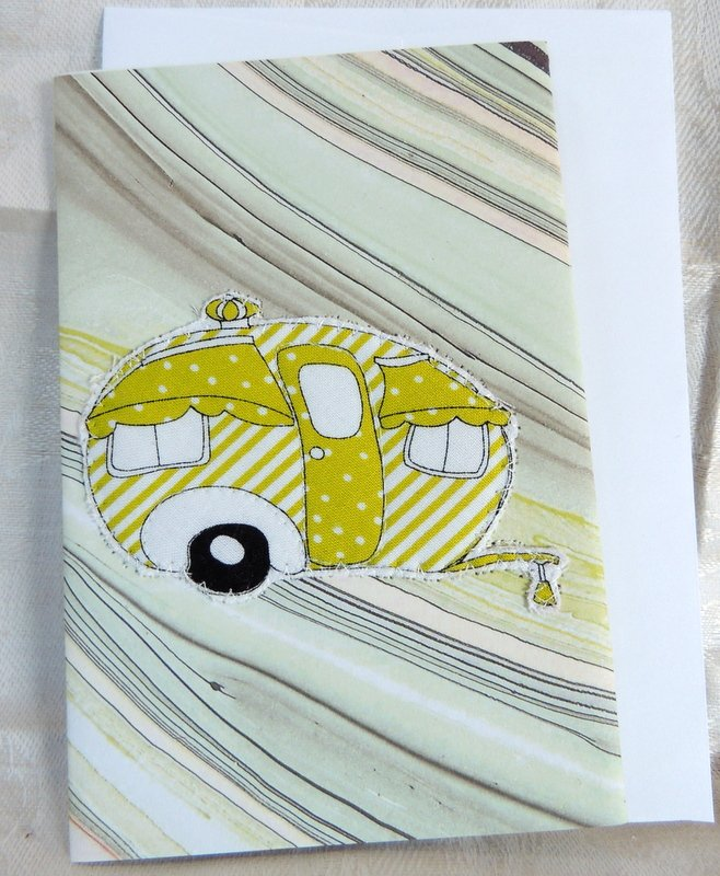 Green Stripe Quilted Camper Card