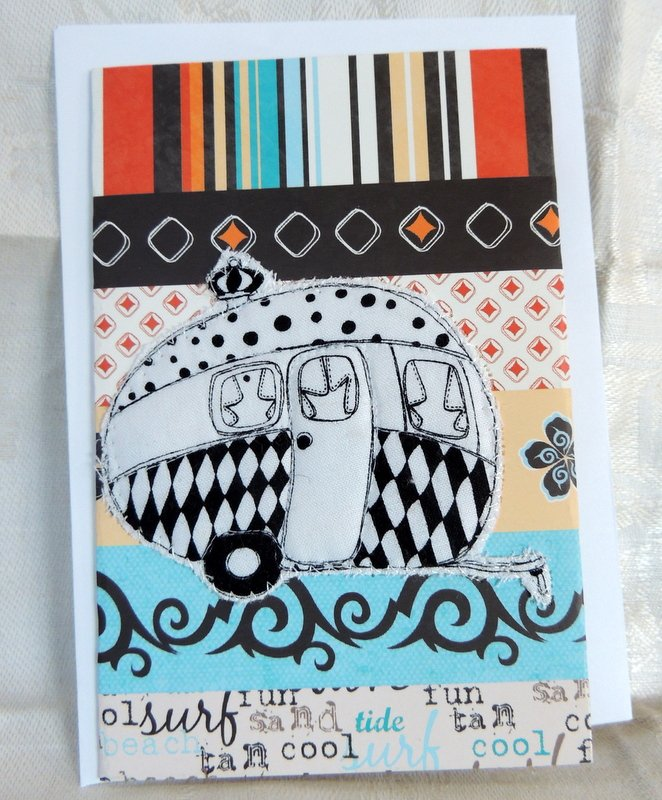 Black and White Quilted Camper Card
