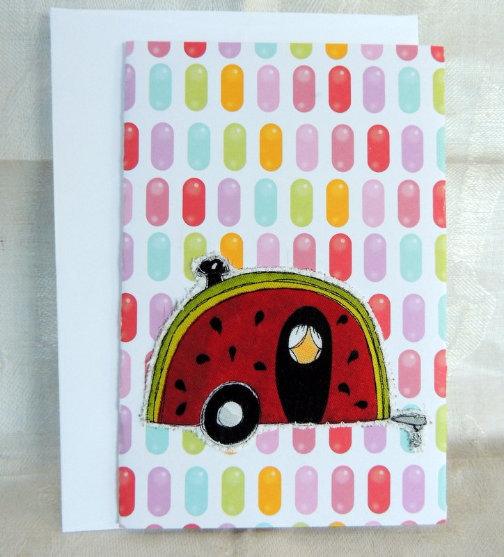 Watermelon Quilted Camper Card