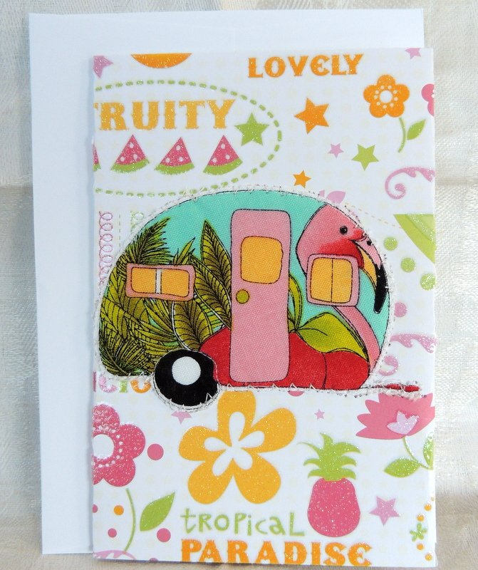 Flamingo Quilted Camper Card
