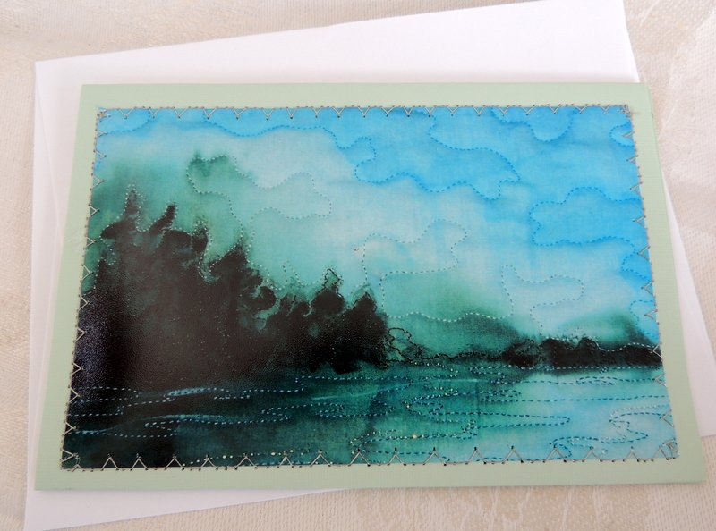 FLATHEAD LAKE STITCHED PHOTO ART CARD