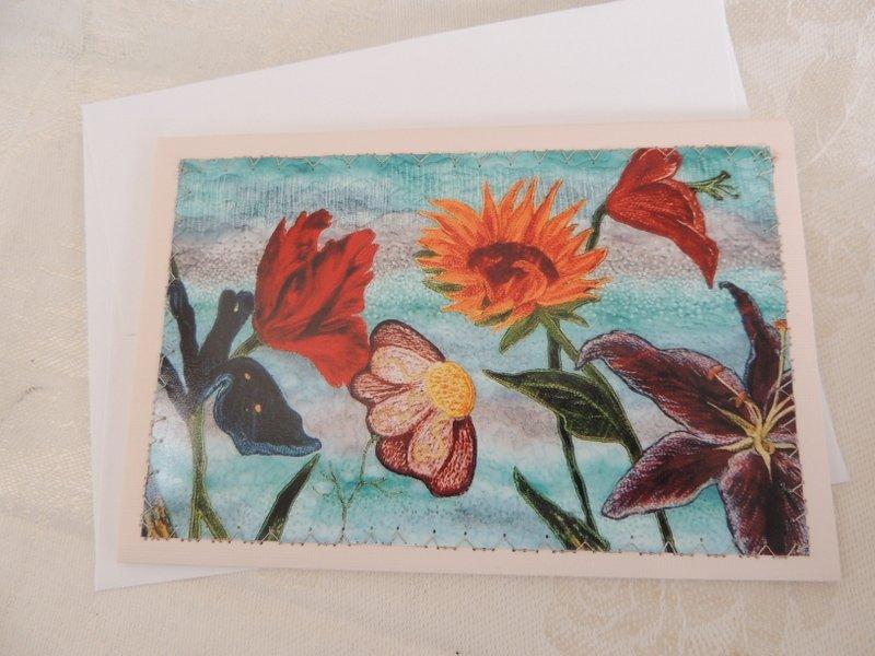 FLOWER GARDEN STITCHED PHOTO ART CARD