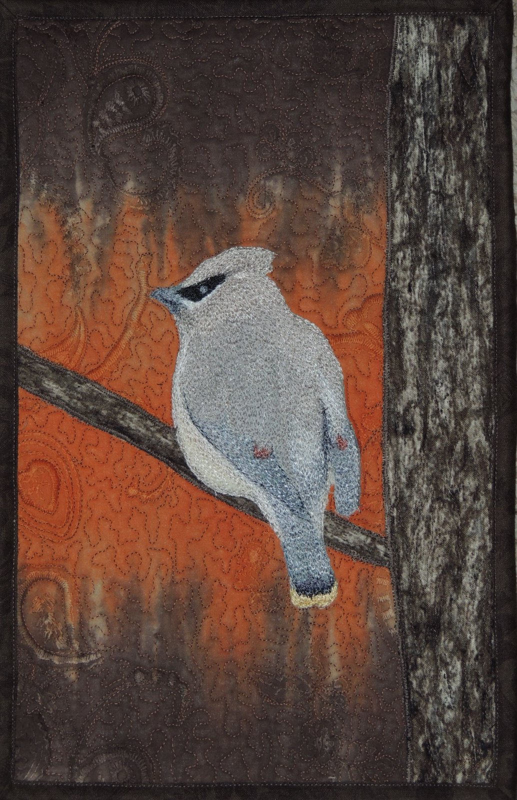 CEDAR WAXWING STITCHED PHOTO ART CARD