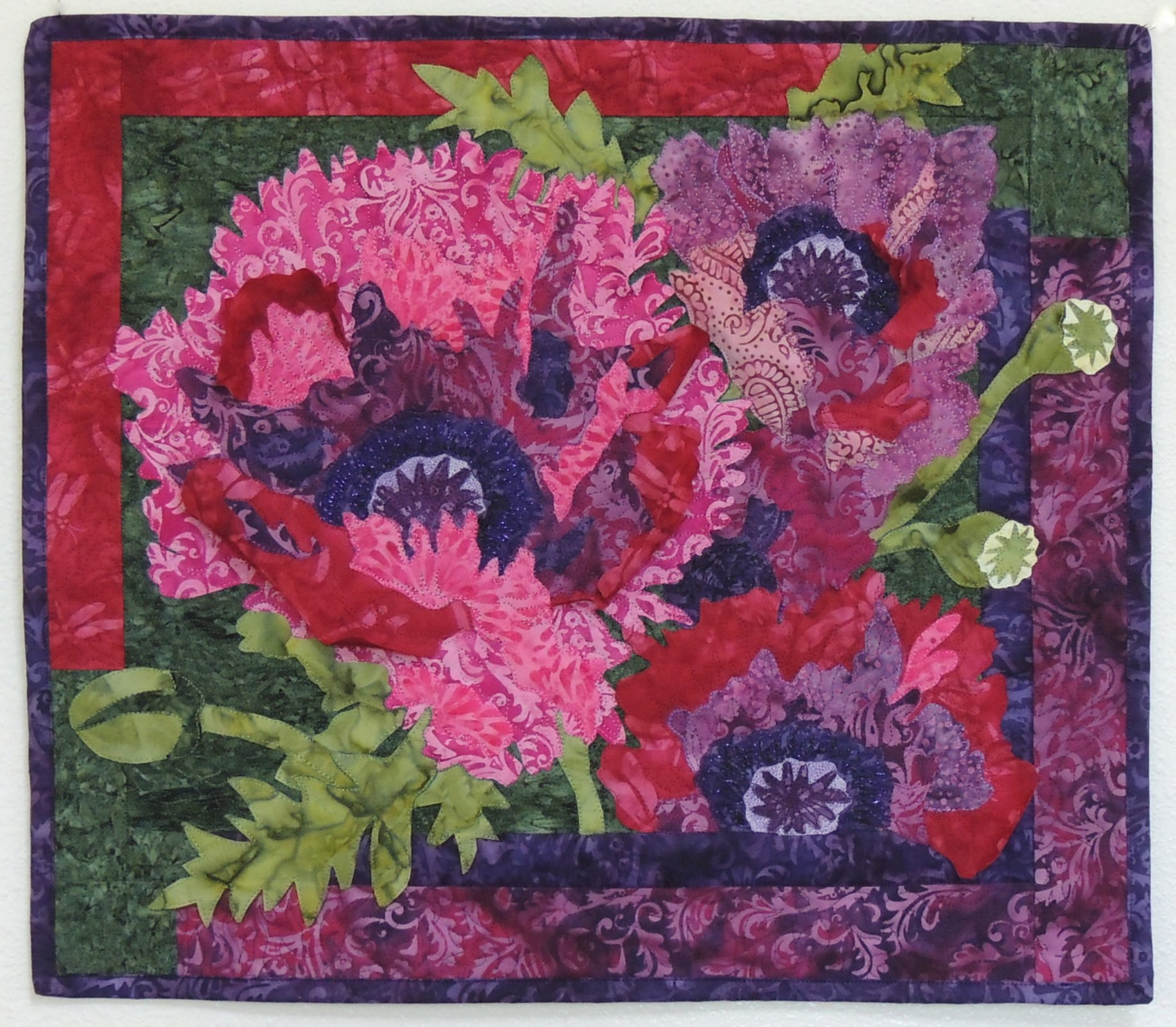Embellishment KIT: Choir of Poppies Pink/Purple Flower Treated Fabric with Pattern