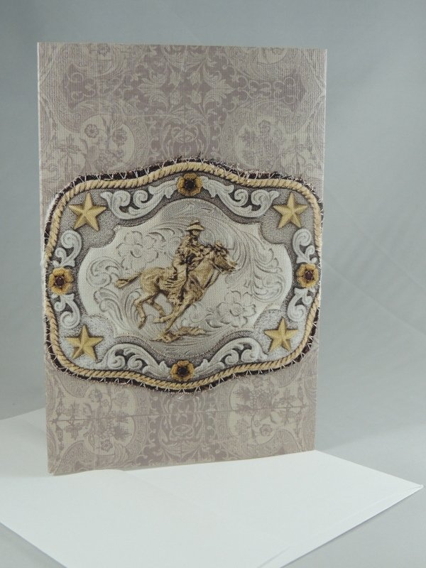 Horserider on Belt Buckle Quilted Greeting Card