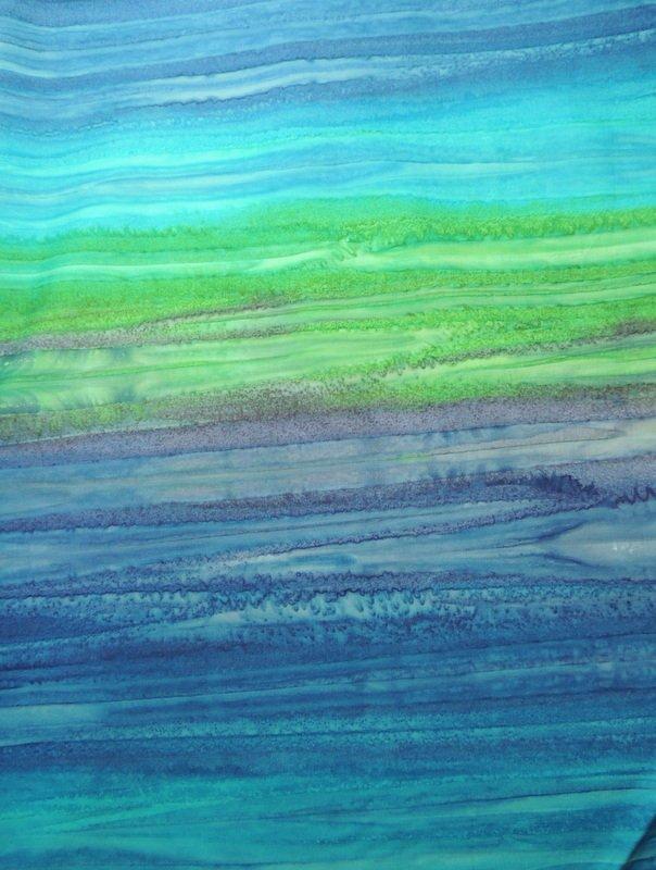 Batik Textiles Blue Green Ombre  0235
