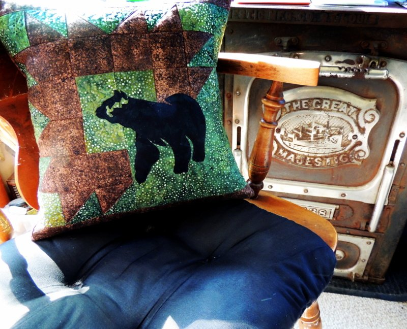 Montana settings placemat as a bear pillow