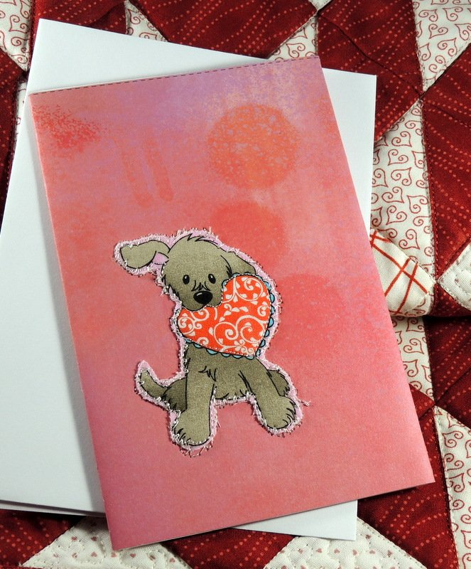 QUILTED DOG VALENTINE GREETING CARD