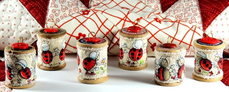 Mini Ladybug Wooden Spool Ornament