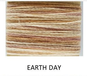 Hand Dyed Variegated Wool Thread Earth Day
