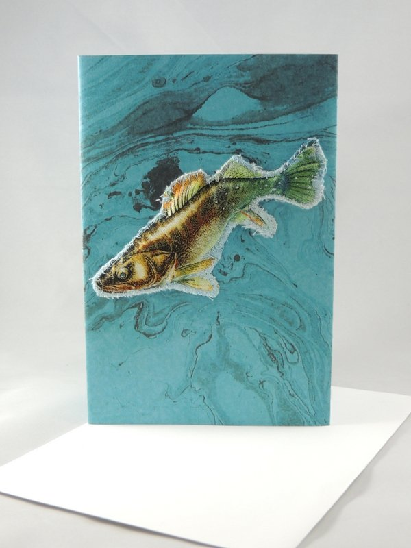 Diving Fish Quilted Greeting Card
