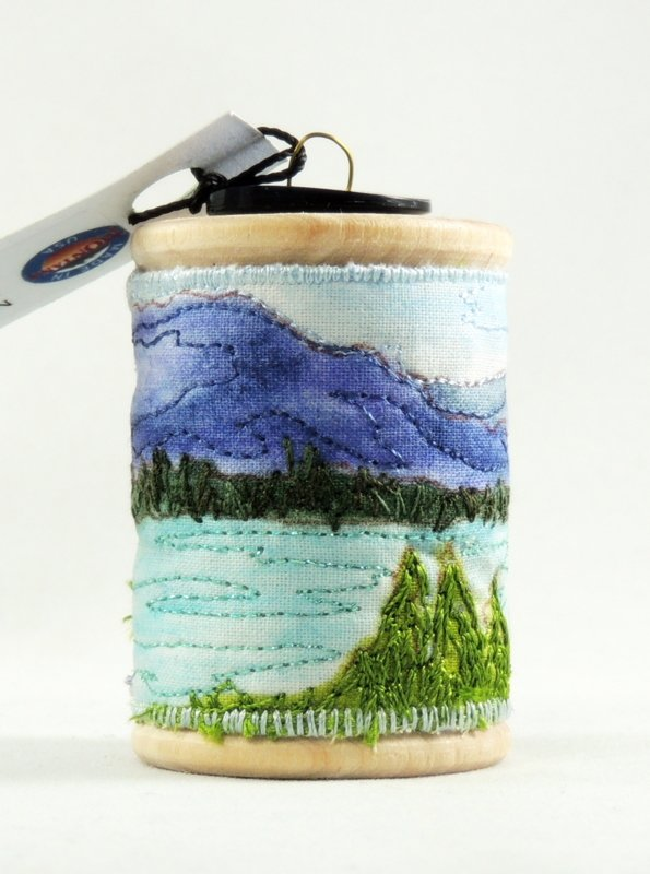 Flathead Lake Thread Painted Wooden Spool Ornament