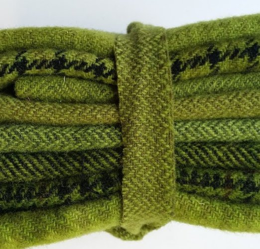 6 Piece Textured Wool Collection Celery