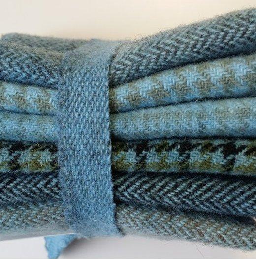 6 Piece Textured Wool Collection Cornflower