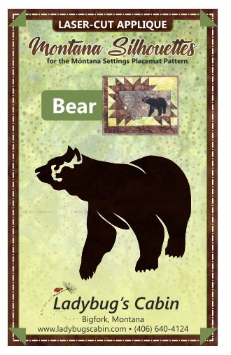 Bear Montana Silhouette Applique (Left Facing)