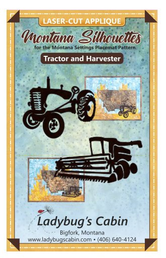 Tractor and Harvester Montana Silhouette Applique Set