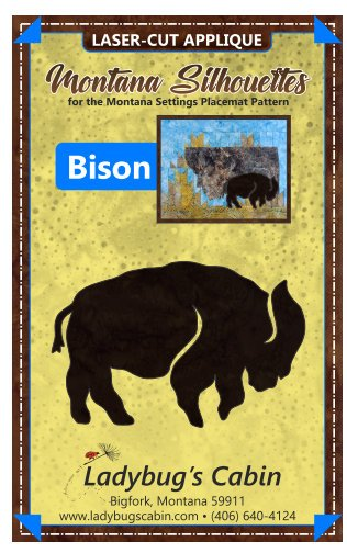 Bison Montana Silhouette Applique (Right Facing)