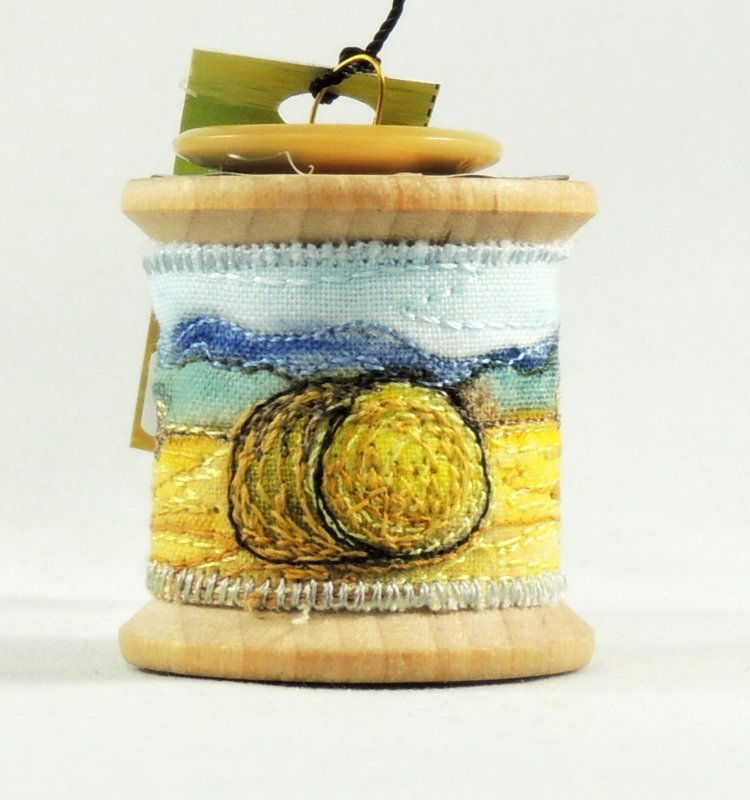 Hay Field Thread Painted Wooden Spool Ornament