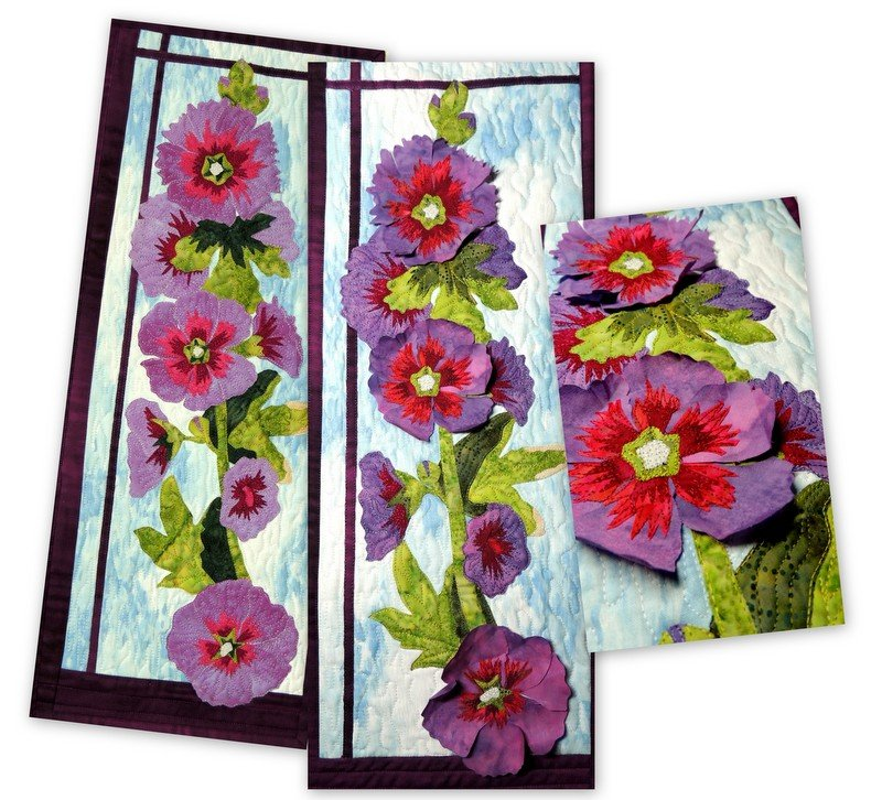 HOLLYHOCK APPLIQUE PATTERN AND FABRIC KIT