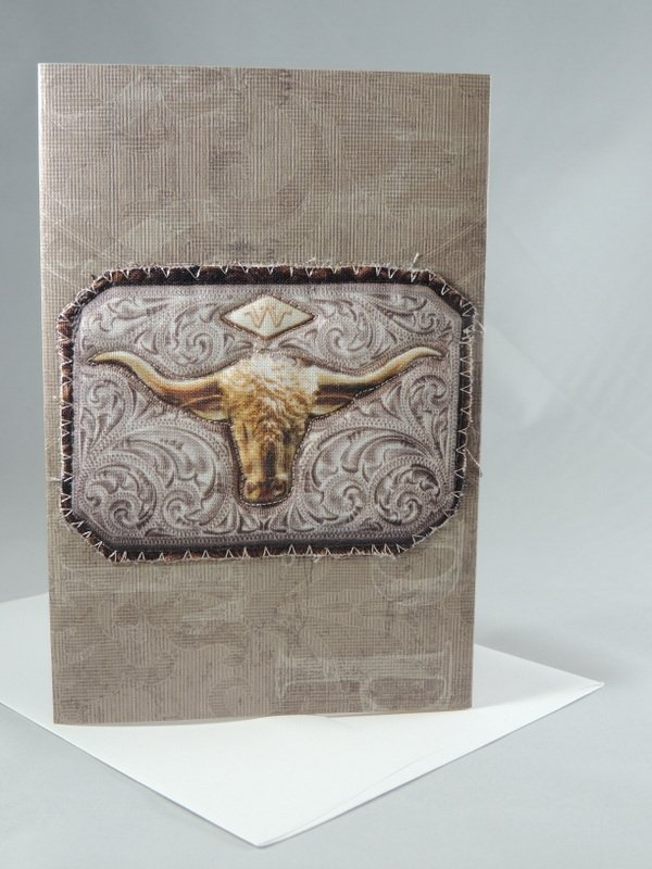 Western Long Horn Belt Buckle Quilted Greeting Card