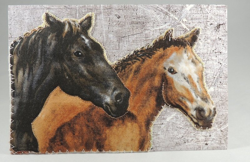 Two Horses Quilted Greeting Card