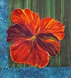 Dark Red Pansy Flower Intro to thread painting kit
