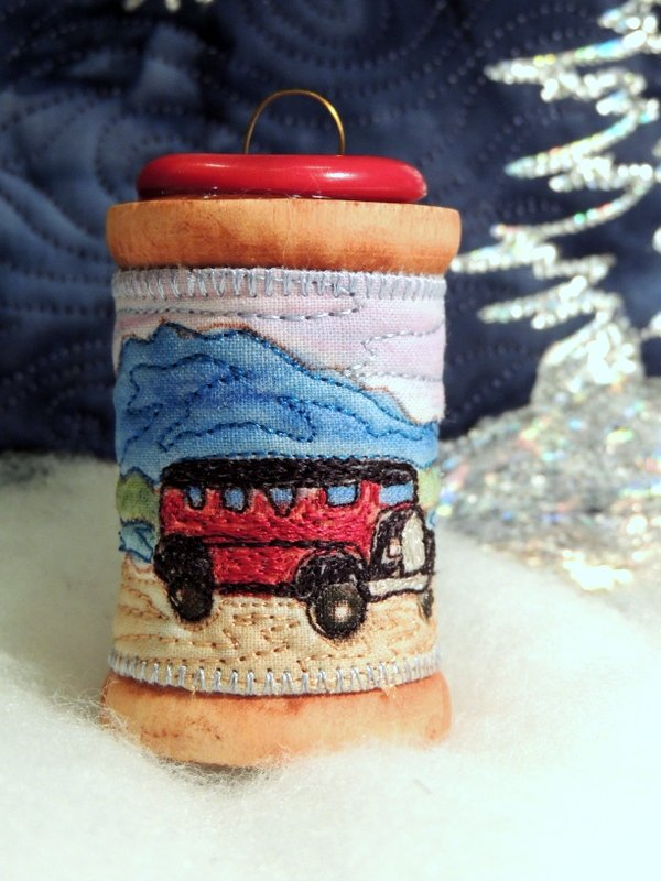 Glacier Park Red Bus Thread Painted Wooden Spool Ornament