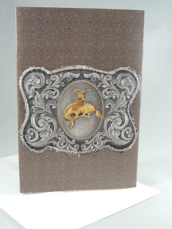 Western Bronc Rider Belt Buckle Quilted Greeting Card