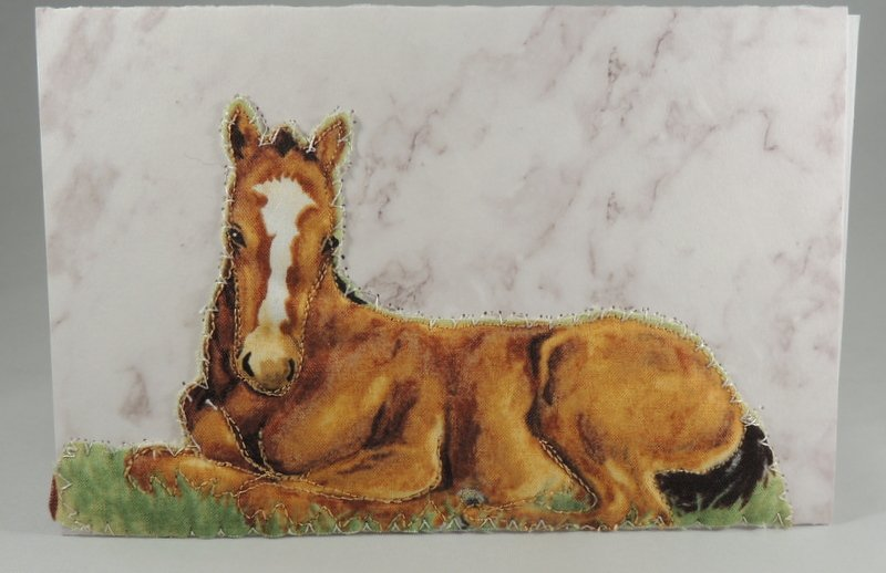 Sitting Horse Quilted Greeting Card