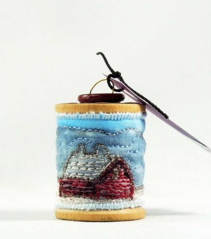 Small Barn Thread Painted Wooden Spool Ornament